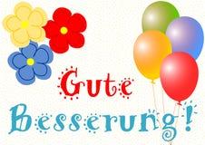 Word goed spoedig in het Duits met ballons en bloemen Stock Fotografie