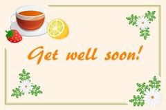 Word goed spoedig kaart met kamillethee, aardbei en citroen Stock Afbeelding