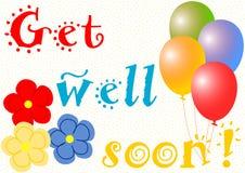 Word goed spoedig met ballons en bloemen Royalty-vrije Stock Fotografie
