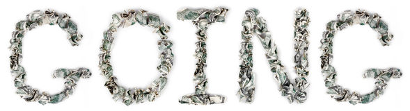 Going - Crimped 100$ Bills. The word 'going', made out of crimped 100$ bills Stock Images
