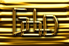 The word gold on abstract gold background. Royalty Free Stock Image