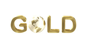 Word gold with a planet Earth as the letter Stock Image