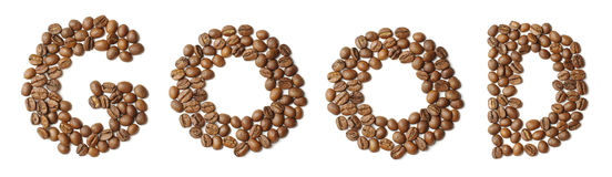 Word GOOD arranged from coffee beans isolated Stock Images