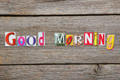 The word good morning. In cut out magazine letters Royalty Free Stock Photos
