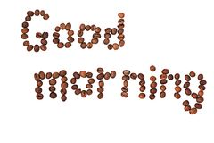 Word Good morning made of coffee beans isolated on Royalty Free Stock Image