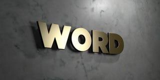 Word - Gouden teken opgezet op glanzende marmeren muur - 3D teruggegeven royalty vrije voorraadillustratie Stock Foto's
