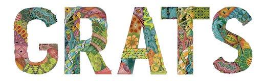 Word GRATS met dalende bladeren Vector decoratief zentanglevoorwerp Royalty-vrije Stock Afbeelding