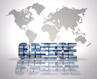 Word  Greece on a world map background Royalty Free Stock Photos