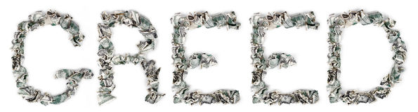 Greed - Crimped 100$ Bills Royalty Free Stock Photos