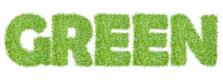 The word GREEN from the green grass Stock Image