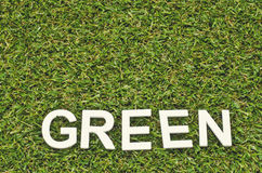 Word  green made from wood on artificial grass Royalty Free Stock Photos