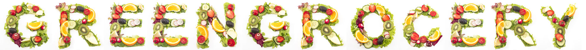 Word greengrocery made of salad and fruits Royalty Free Stock Image