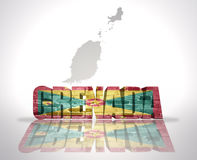 Word Grenada on a map background. Word Grenada with National Flag near map of Grenada Stock Photo