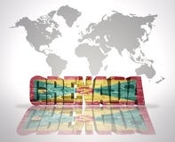 Word Grenada on a world map background Stock Image