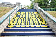 The word Grind on the Memphis River Fit stairway, downtown Memphis, TN. Stock Photos