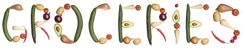 The word 'Groceries' made out of vegetables Stock Photography