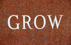 Word Grow on Red Granite background Stock Images