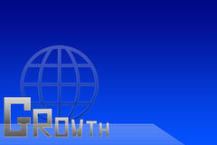 The word growth with big letter g on blue background Royalty Free Stock Photo