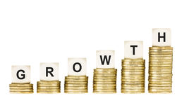 Word GROWTH on Row of Gold Coin Stacks Isolated White Royalty Free Stock Photo