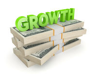 Word GROWTH on a stack of dollars. Royalty Free Stock Photos
