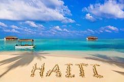 Word Haïti op strand Royalty-vrije Stock Foto's