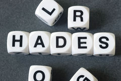 Word Hades on toy cubes Stock Photography
