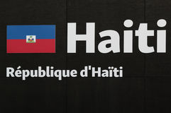 Word Haiti Emblem, Text and Insignia Theme. Word Haiti Emblem at Universal Exposition`s Pavilion in Milan, Italy 2015 Stock Image