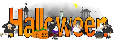 The word Halloween surrounded by witches, vampires and monsters Royalty Free Stock Photo