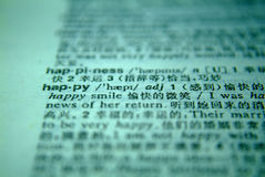 The word happy in a dictionary Royalty Free Stock Images