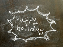 The word happy holiday in bubble sign. Background royalty free stock image