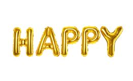 Word HAPPY made of golden foil balloons letters on white background