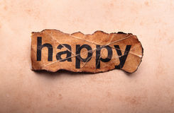 Word happy. Motivation. Old paper stock image