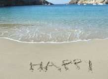 The word Happy written in the sand Royalty Free Stock Photography