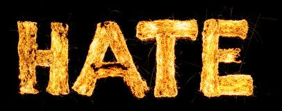 Word HATE burning. Steel wool smoldering. Beautiful combustion. Exciting typography, font. Photo, long exposure royalty free stock images
