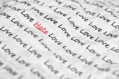 The word hate, love written. Stock Photos