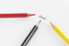 Word hate surrounded by pencils Royalty Free Stock Image