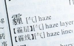 Word Haze written in Chinese language Royalty Free Stock Photography