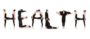 The word HEALTH formed by Gymnast bodies stock images