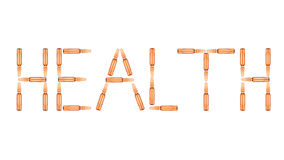 The word Health is made up of ampoules royalty free stock images
