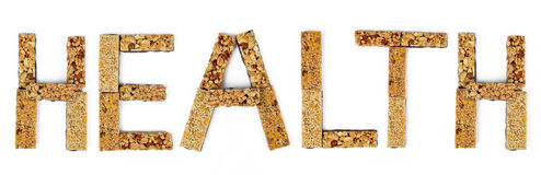 The word Health from muesli bars Stock Image