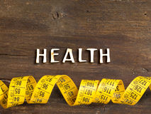 The word of Health on wood and measuring type Stock Photo