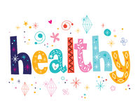 Word healthy decorative lettering type design Royalty Free Stock Photos