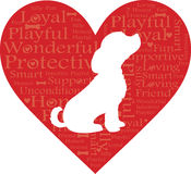 Word Heart Dog. A red heart with words describing a dog and a white dog silhouette Royalty Free Stock Image