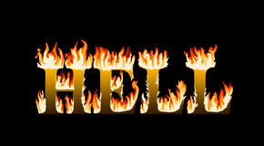 Word hell engulfed in flames. On black background Stock Image