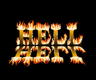 Word hell in flames, with reflection. On black background Royalty Free Stock Image