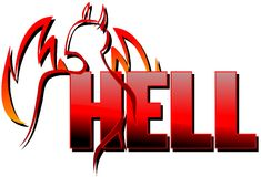 Word hell with stylized devil isolated. Image representing the word hell with a stylized daemon and flames Stock Photo