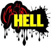 Word hell with stylized devil isolated. Image representing the word hell with a stylized daemon and flames Stock Photography