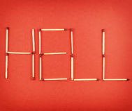 Word Hell made of matchsticks Stock Photo