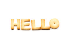 Word hello biscuit Royalty Free Stock Image