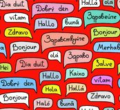 Hello, European languages, seamless pattern, contour drawing, color, red, vector. The word `Hello` in a colored cloud. Different European languages. Colored red royalty free illustration